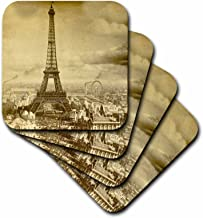 3dRose LLC Eiffel Tower Paris France 1889 Sepia Tone Coaster, Soft, Set of 8
