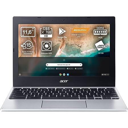 """Acer Chromebook 311 CB311-11H - Ordenador Portátil 11"""" HD, Laptop (MTK MT8183, 4GB RAM, 32GB eMMc, UMA Graphics, Chrome OS), PC Portátil Color Plata - Teclado Qwerty Español"""