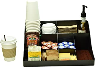 Black Coffee Condiment Organizer Caddy Tray - Perfect Storage Bin Station Holder For Small Home Table Or Office Breakroom - Box Organizers And Bins Hold Creamer Pod Sugar And Cup on Countertop