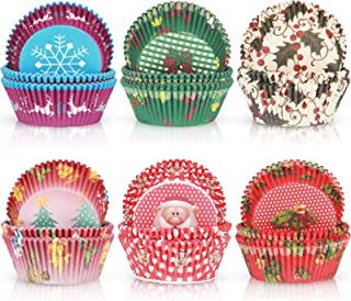 600 Pieces Christmas Cupcake Liners Muffin Cups Colorful Paper Disposable Cupcake Holders for Christmas Themed Party Decor...