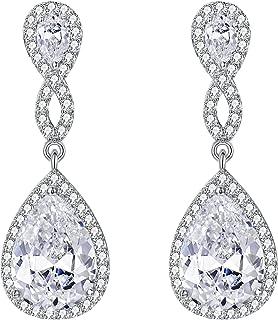 EVER FAITH® Damen 925 Sterling Silber Zirkon Hochzeit 8-Form Unendlichkeit Pierced Dangle Ohrringe Klar