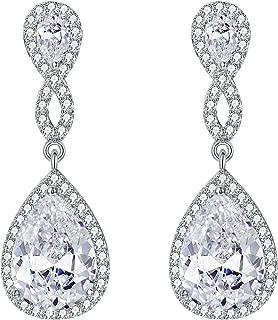 EVER FAITH Women's 925 Sterling Silver Zircon Wedding 8-Shaped Infinity Pierced Dangle Earrings Clear