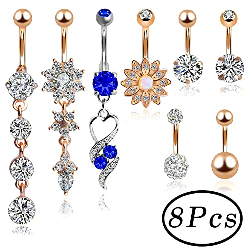 380e56b75 Belly Bars Xmas Gift, Outee 8 Pcs Belly Button Ring Belly Stainless Steel Ball  Belly