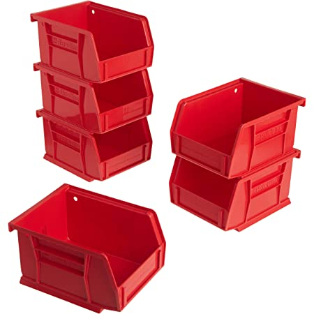 Akro-Mils 08212RED 30210 AkroBins Plastic Storage Bin Hanging Stacking Containers, (5-Inch x 4-Inch x 3-Inch), Red, (6-Pack)
