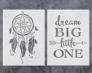 GSS Designs Dream Catcher Stencil Dream Big Little One Quote Stencils Template (2 Pack) - Reusable Stencil for Walls (12x16 Inch) - Art Painting for Wall Canvas Furniture Decor (SL-056)