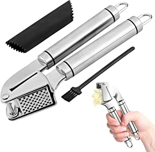 GHI Upgraded Stainless Steel Garlic Press and Peeler | Rust-Proof Garlic Mincer, Crusher and Chopper | Includes Silicone Roller and Cleaning Brush | of the Most Widely Used Kitchen Utensils