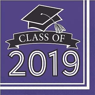 Creative Converting 335418 Purple Class Of 2019 Napkins, 6.5