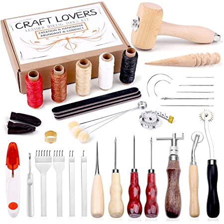 Prong Punch and Leather Working Saddle Making Stamps Tools Set for DIY Leathercraft Patioer 52 Pcs Leather Tools Kit with Stitching Groover