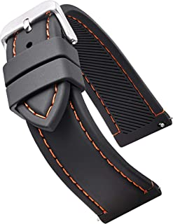 Alpine Smooth & Sporty Silicone Stitched Watch Band with Quick Release Spring Bars- Black/White, Black/Red, Black/Blue, Black/Yellow, Black/Orange in Sizes 18mm, 20mm, 22mm & 24mm
