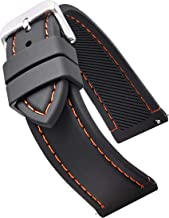 Smooth & Sporty Silicone Stitched Watch Band with Quick Release Spring Bars- Black/White, Black/Red, Black/Blue, Black/Yellow, Black/Orange in Sizes 18mm, 20mm, 22mm & 24mm