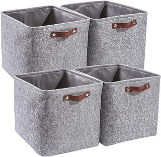 MANGATA Boîtes de Rangement en Tissu 33 x 38 x 33 cm, 4 paniers de rangement cubiques pour étagères, armoires, placards Ka...