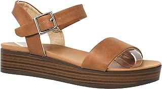 MVE Shoes Women's Flatform Comfort Insole Ankle Buckle Sandals