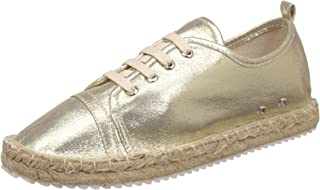 Catwalk Golden Leather Espadrille Shoes for Women's