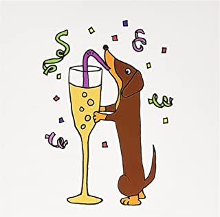 3dRose Greeting Cards, 6 x 6 Inches, Pack of 6, Funny Dachshund Drinking Champagne Celebration (gc_201812_1)