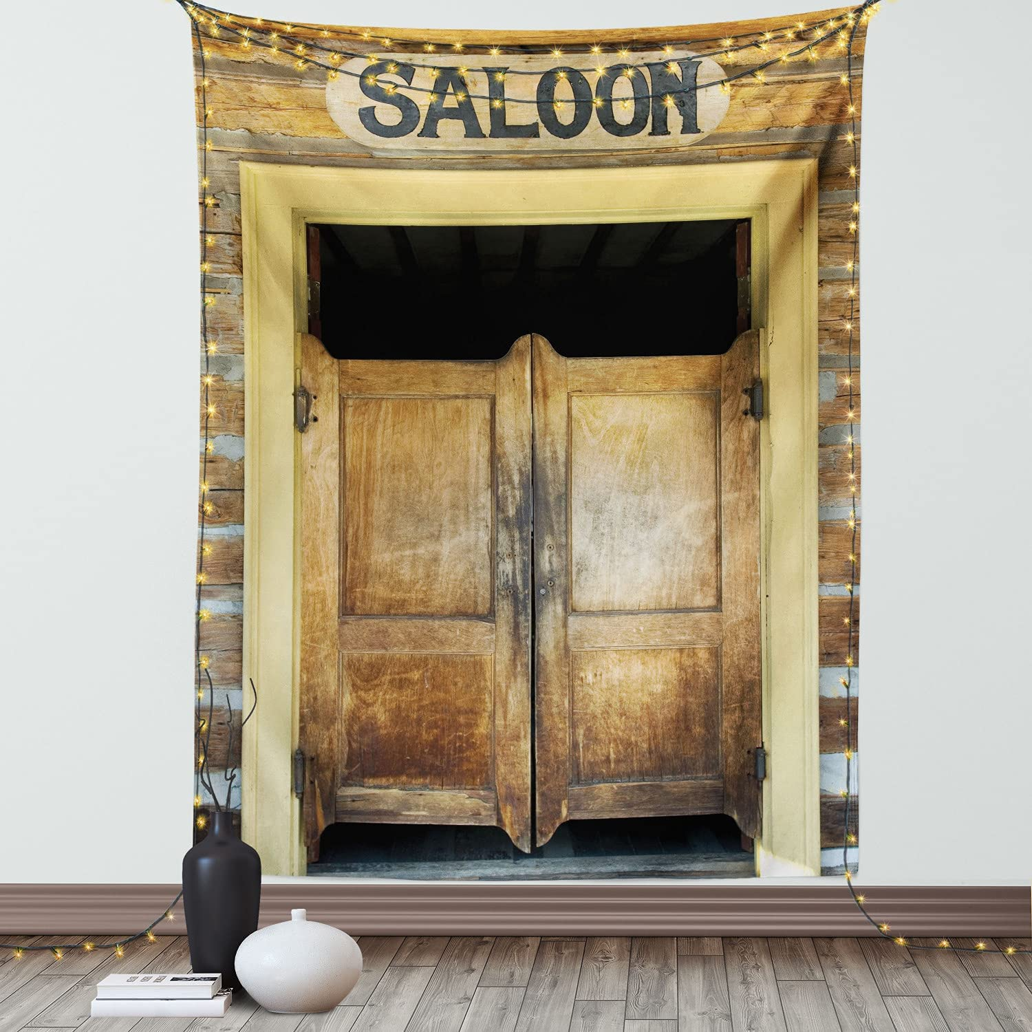 Ambesonne Western Tapestry, Wild West Saloon Doors of an Old Building in Montana Ghost Town Rustic Grunge Illustration Print, Wall Hanging for Bedroom Living Room Dorm Decor, 60