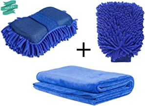 ALOUD CREATIONS Car/Bike Cleaning Combo - Chenille Microfiber Car Wash Sponge and Gloves - Pack of 3