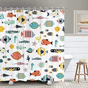 RosieLily Multi Fishes Shower Curtain, Coloful Fishes Shower Curtains Set with 12 Hooks, Waterproof Kids Cute Shower Curtains, Decor Cartoon Fishes Shower Curtain, 72x72''