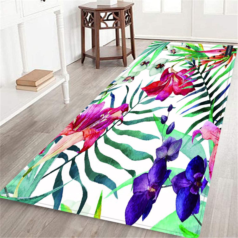 TISAGUER Long Floor Mat Watercolor Pattern Ba Our shop OFFers the best Overseas parallel import regular item service Tropical Wallpaper