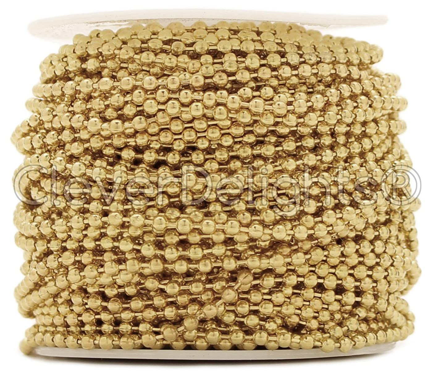 CleverDelights Ball Chain Roll - 100 Feet - Champagne Gold Color - 2.4mm Ball - #3 Size - Bulk