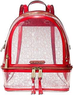 Michael Kors Rhea Zip Backpack (Red/Clear)