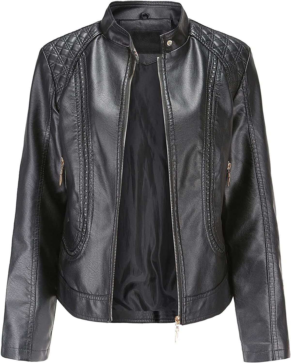 Women's Oversized Faux Leather Belted Motorcycle Jacket Standard & Plus Sizes