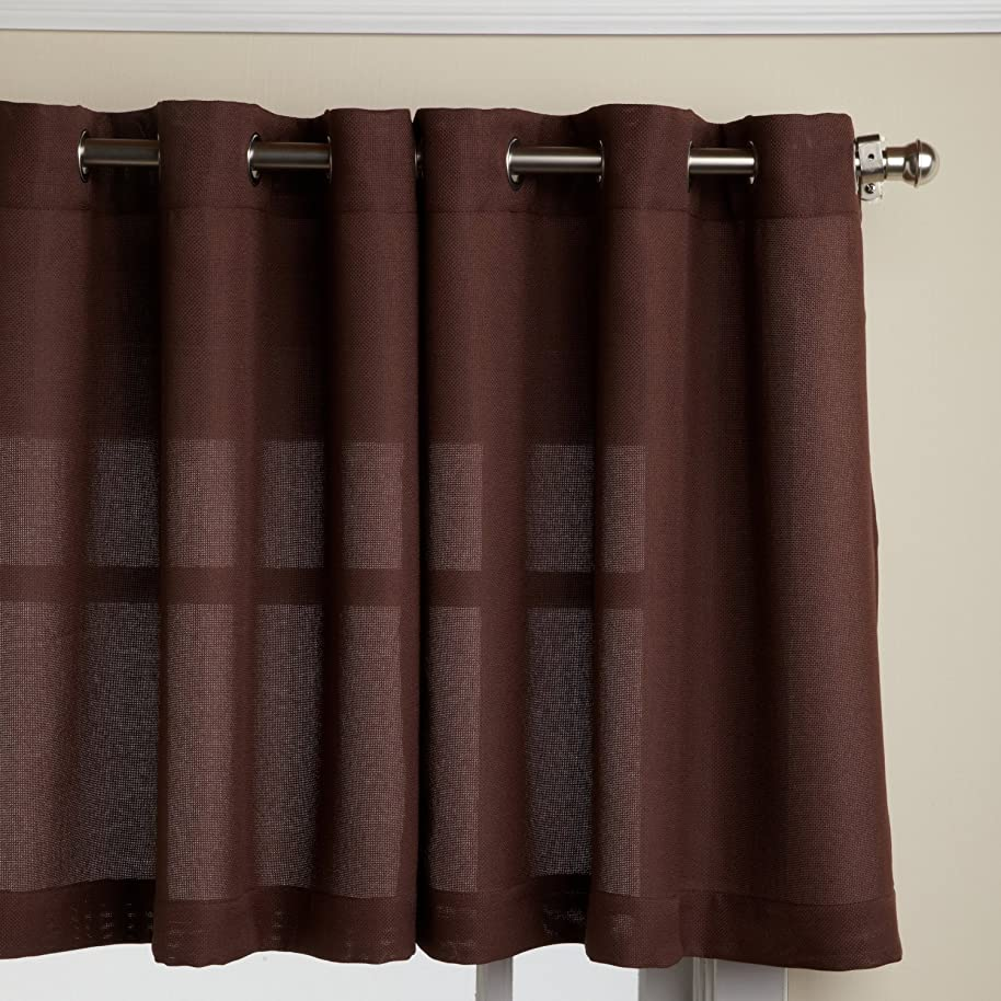 LORRAINE HOME FASHIONS Jackson 58 x 36-inch Tier Curtain Pair, Chocolate, 58