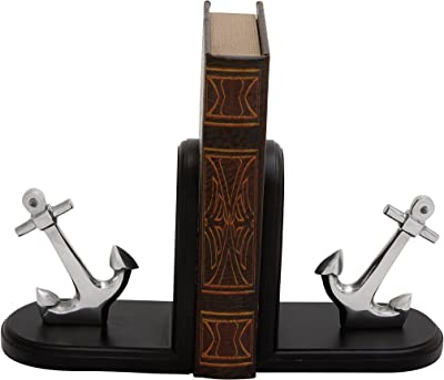 "Plutus Brands Antique Anchor Wood Aluminum Bookend, 6"" by 7"""