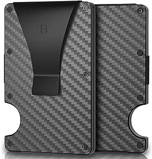 Minimalist Carbon Fiber Wallet For Men - Money Clip - RFID Blocking Credit Card Holder - Metal Wallet - Front Pocket Slim Wallet - Aluminum Cash Wallet