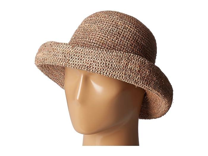 Hippie Hats,  70s Hats San Diego Hat Company RHM6005 Crochet Raffia Pinched Crown Fedora Hat Nougat Fedora Hats $35.99 AT vintagedancer.com