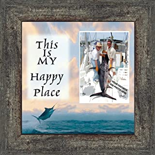 Deep Sea Fishermans Happy Place, Personalized Fishermens Gifts for the One You Love, Fishing Décor Picture Frame 10X10 9723BW