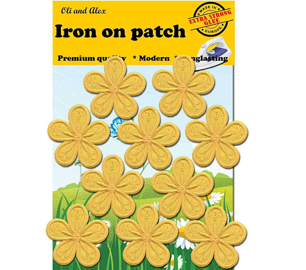 A-46, Extra Strong Glue 10 Yellow Flower Iron O, Embroidered, Decorative Patches, Fashion Set (10yellow(Kladno))