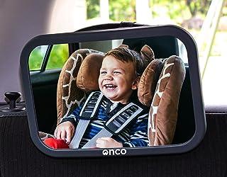 Onco Babyautospiegel - 100% onbreekbare achteruitkijkspiegel voor uw achterbank - Rij veilig en houd uw kind in de gaten -...