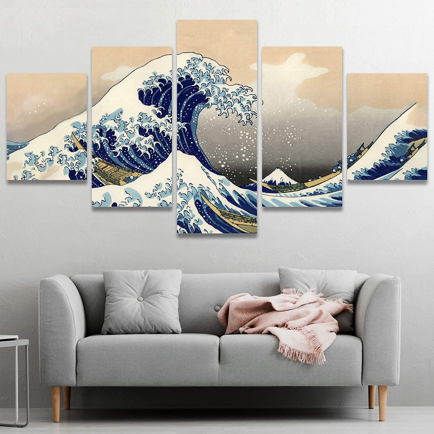 SIGNWIN 5 Panel SEAL limited Mail order product Canvas Wall Art The Kanagawa Off H Great Wave by
