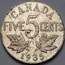 1935 Canada 5 Cents NickelStruck Thru Error Coin Free Combined Shipping
