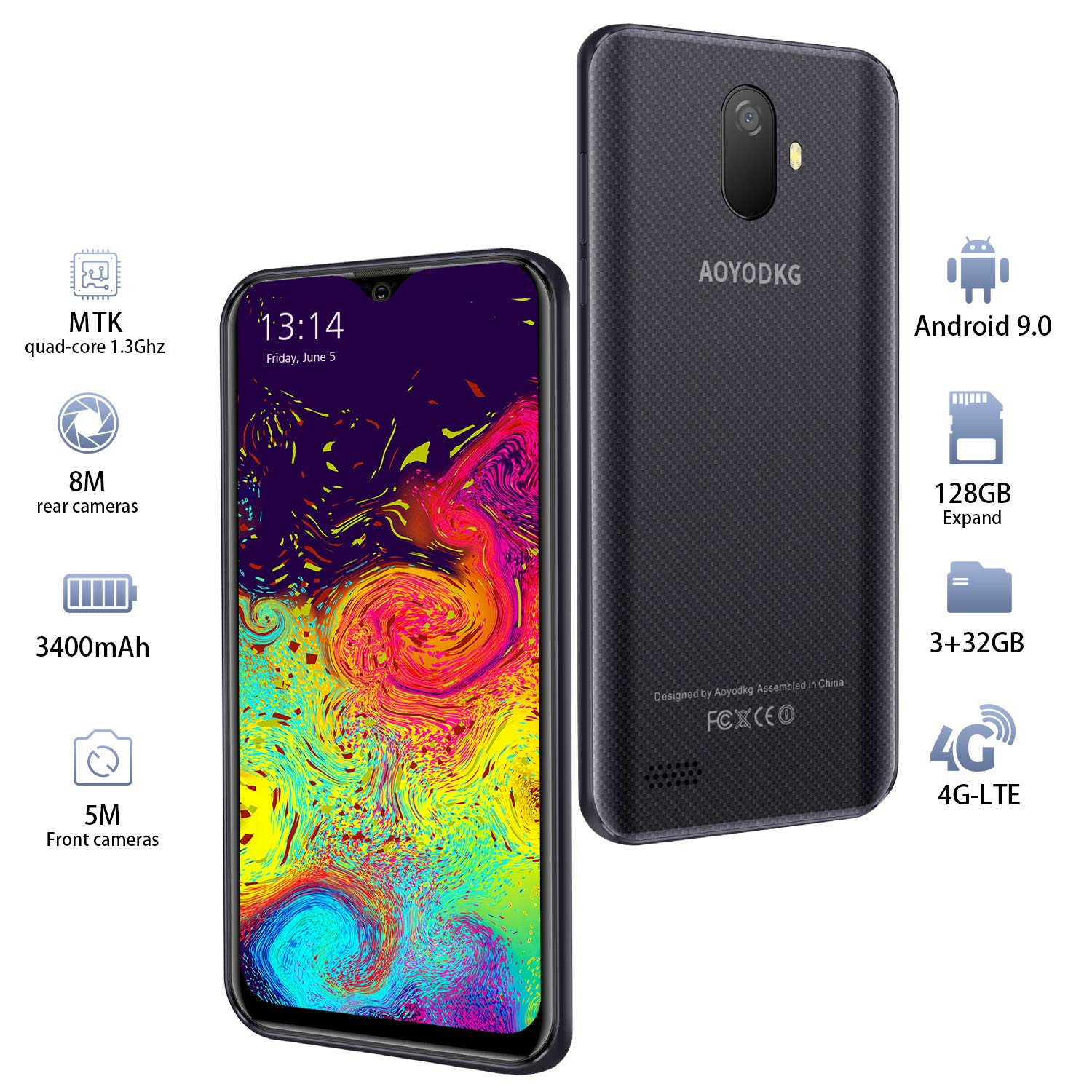 Moviles Libres 4G LTE,3GO RAM+32GO ROM,Android 9.0 Google ...