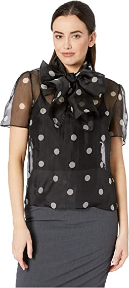 Medium Dot Print Organza Tie Front Blouse