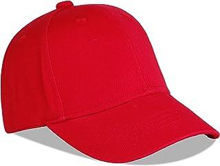 Juenier Unisex Toddler Kids Plain Cotton Baseball Cap Soft Lightweight Adjustable Sun Hat for Girls Boys (S-Red)