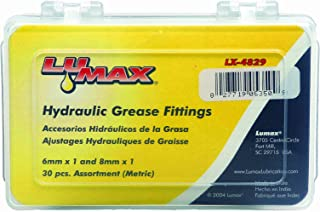 Lumax LX-4829 Gold/Silver 6mm x 1 and 8mm x 1 (Metric) 30 Piece Grease Fitting Assortment