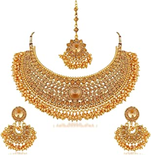 Indian Bollywood Traditional 14 K Gold Plated Crystal Pearl Wedding Temple Choker Necklace Earrings Maang Tikka Jewelry Set