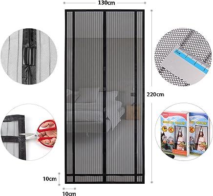 Sekey - Cortina Magnética para Protección Contra Insectos para Puerta de Balcón, de Sótano, y de Terraza, Cierre Magnético, Se Puede Cortar en Altura y Ancho (220 x 130 cm) Negro