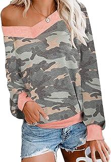 Loyomobak Women's Fashion V Neck Shirt Long-Sleeve Camouflage Pullover Tee Blouse Top
