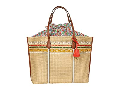 Tory Burch Perry Straw Oversized Tote (Natural/Legacy Paisley) Handbags