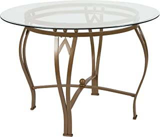 Flash Furniture Syracuse 42'' Round Glass Dining Table with Matte Gold Metal Frame