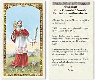 Gifts by Lulee, LLC Oracion a Sant Ramon Nonato Patron de las Comadronas y de Los Partos Tarjeta de Rezo Bendecida Importada de Italia Laminada con Acentos en Oro