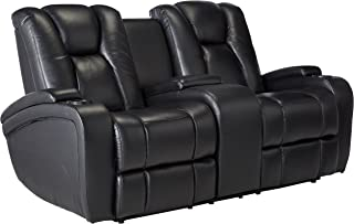 Delange Reclining Power Loveseat with Adjustable Headrests and Storage in Armrests Black