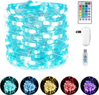 Minetom USB Fairy String Lights, 66Ft 200 LED Waterproof Color Changing Twinkle Lights with 4 Lighting Modes Remote and Po...