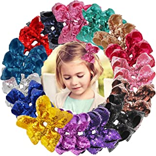 DED 30pcs Sparkly Hair Bows Clips 4 inch Glitter Sequin Bow Alligator Clips Baby Hair Accessories for Baby Girls Children Kids(15 Pair)