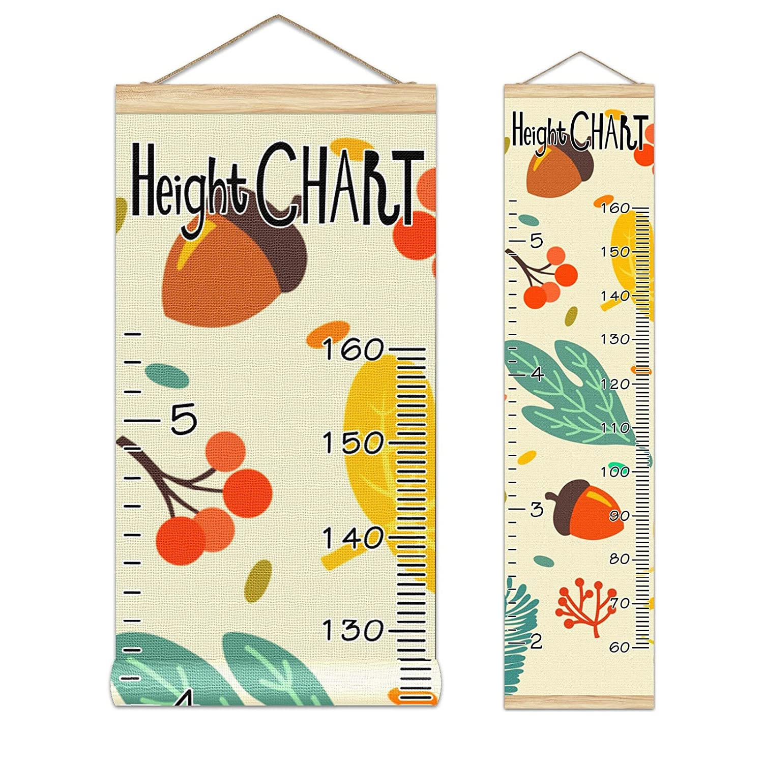 Growth Chart Fort Worth Mall Max 57% OFF Kid's Height Autumn Acorns-01 Leaves