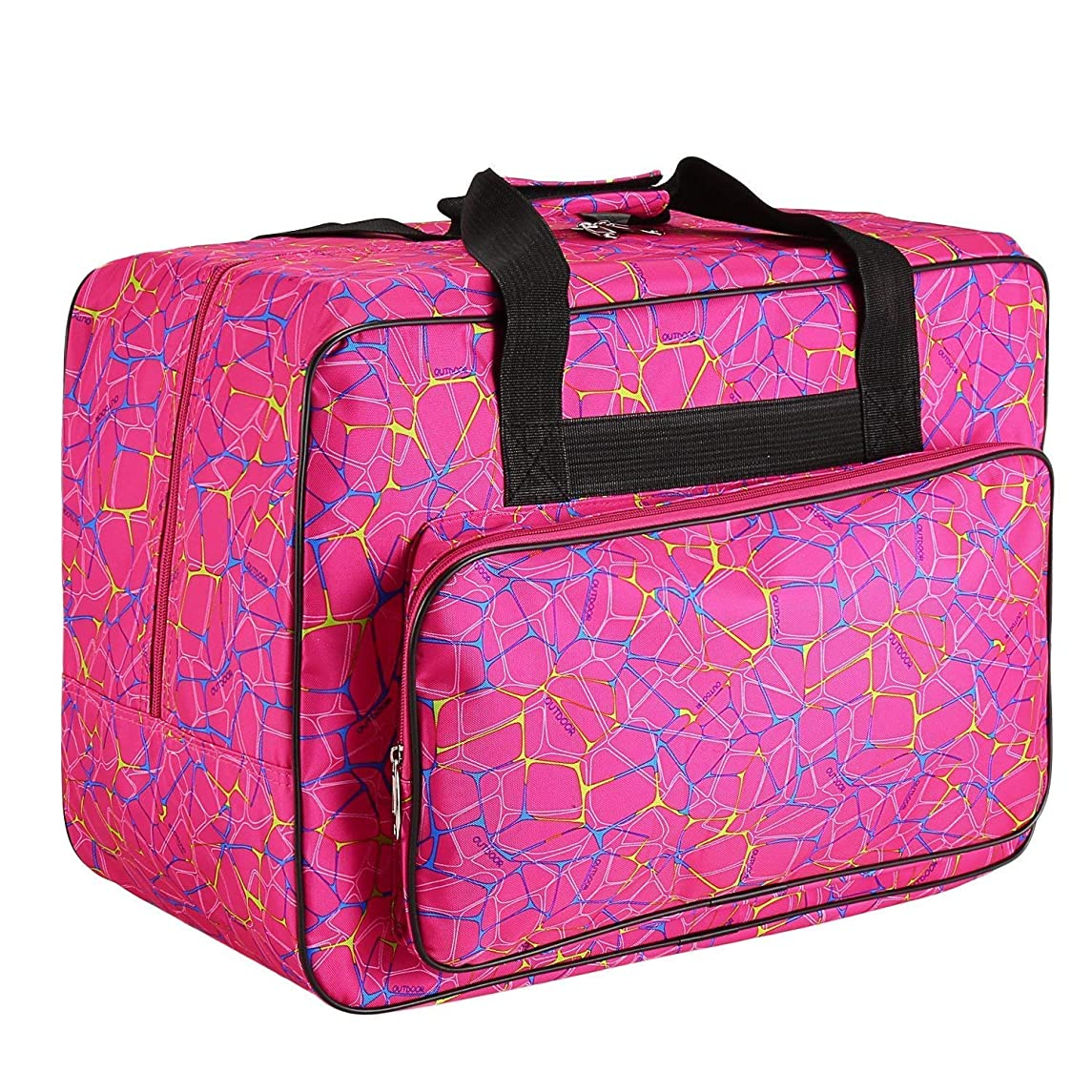 Sewing Machine Carrying Case Tote Bag,Universal Nylon Carry Bag, Universal Padded Storage Cover Carrying Case with Pockets and Handles (Rose Red)