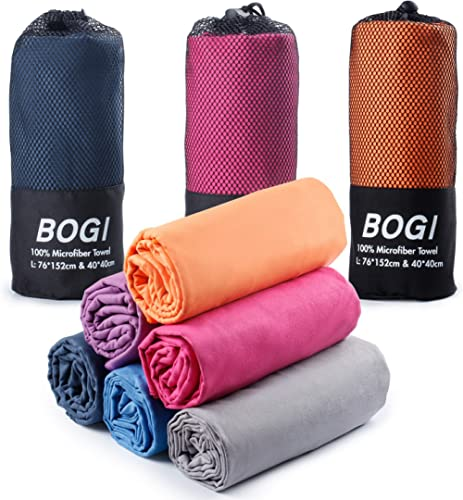 BOGI Microfiber Travel Sports Towel-(Size: S M L XL)-Antibacterial Dry Fast Soft Lightweight Absorbent&Ultra Compact-...